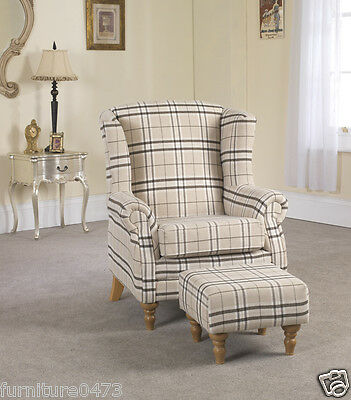 Brown Fabric Material Fireside Armchair + Footstool with castors VICTORIANNA 7
