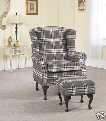 Brown Fabric Material Fireside Armchair + Footstool with castors VICTORIANNA 8
