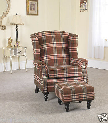 Brown Fabric Material Fireside Armchair + Footstool with castors VICTORIANNA 9