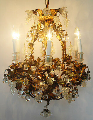 Rare Art Glass Maison Bagues Incredible Antique Murano Gold Gilt Chandelier
