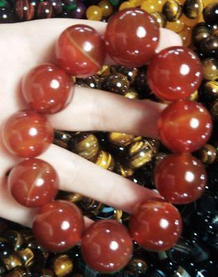 Ingenious China Pure Natural Red Agate Handmade Elastic Bracelet 5