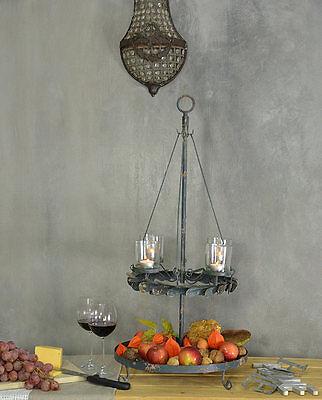 Vintage Etagere Metall Landhaus Rund Landhausstil Shabby Chic Schale Design Grau 3 • EUR 43,12