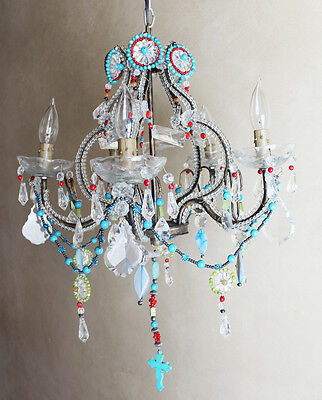 Antique Italian One of a Kind- Amazing Beaded Boho Chandelier Chic Bohemian 4