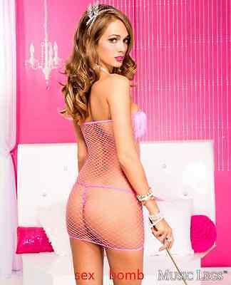 SEXY mini abito ROSA rete con FRANGE taglia unica VESTITO lingerie GLAMOUR