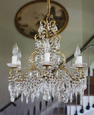 Antique Italian Beaded Crystal Chandelier Stunning Prisms Rare 3