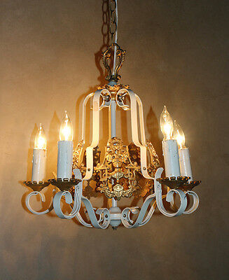 Rare Coat of Arms French Antique Painted Ormolu Gilt Chandelier Vintage Antique