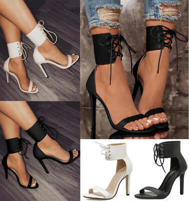Ladies Open-Toe High Heels Stiletto Shoes Sexy Women Ankle Cross Lace Up Sandals 2