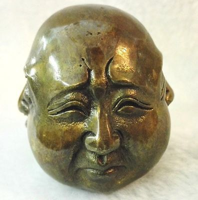 Antiques Old tibet brass 4 faces buddha head statue Figures 6cm 4