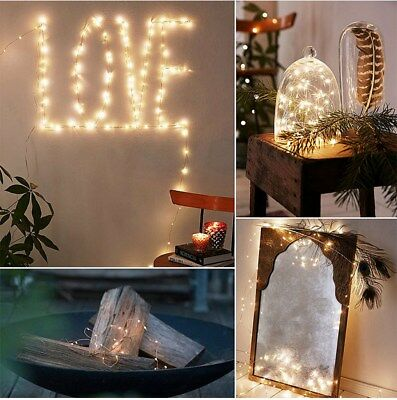 20/30/100 LED Battery Micro Rice Wire Copper Fairy String Lights Party White RO 6