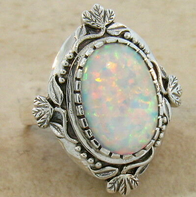 WHITE LAB OPAL ANTIQUE VICTORIAN DESIGN 925 STERLING SILVER RING Sz 10, #222 2