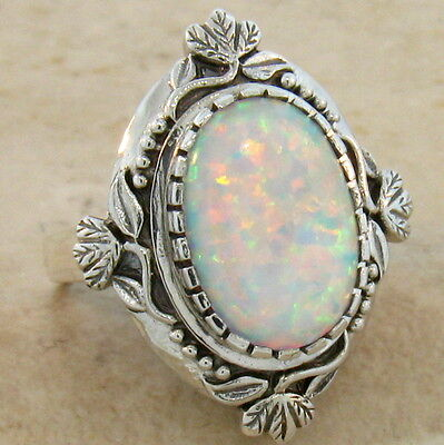 White Lab Opal Antique Victorian Design 925 Sterling Silver Ring Size 9, #222 2