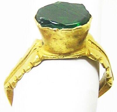 2nd - 3rd century AD Ancient Roman Gold & Emerald Finger Ring Henig type VIII 8
