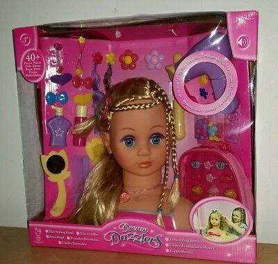 Real Dream Dazzlers Hairdressing Styling Doll Head Plus 50 bonus Accessories