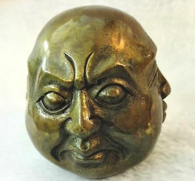 Antiques Old tibet brass 4 faces buddha head statue Figures 6cm 2