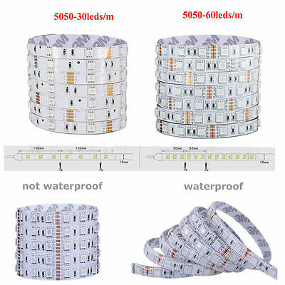 1-30M SMD 5050 RGB LED Strip Light Flexible Lighting 12V IR Controller Adapter 4