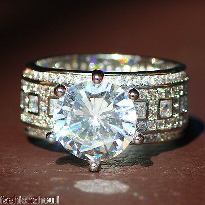 New 925 Silver Filled White Sapphire Birthstone Engagement Wedding Ring 5-11 5
