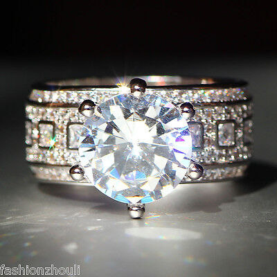 New 925 Silver Filled White Sapphire Birthstone Engagement Wedding Ring 5-11 7