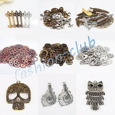 Wholesale Steampunk Skull Cross Gear Pendant Charms For Bracelet Jewelry Finding 4