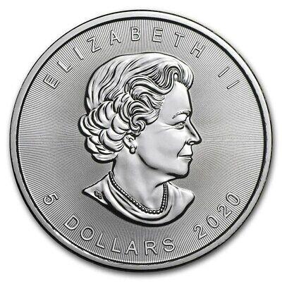 2020  Canada 1 oz Silver Maple Leaf Coin BU FS 2