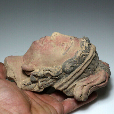 SCARCE-GANDHARA STUCCO FEMALE HEAD FRAGMENT TERRACOTTA 200-300AD-677 grams 3