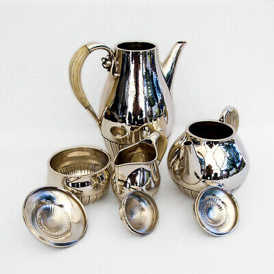 Georg Jensen Cosmos 4 Piece Tea Coffee Set Sterling Silver 1930 Denmark 3