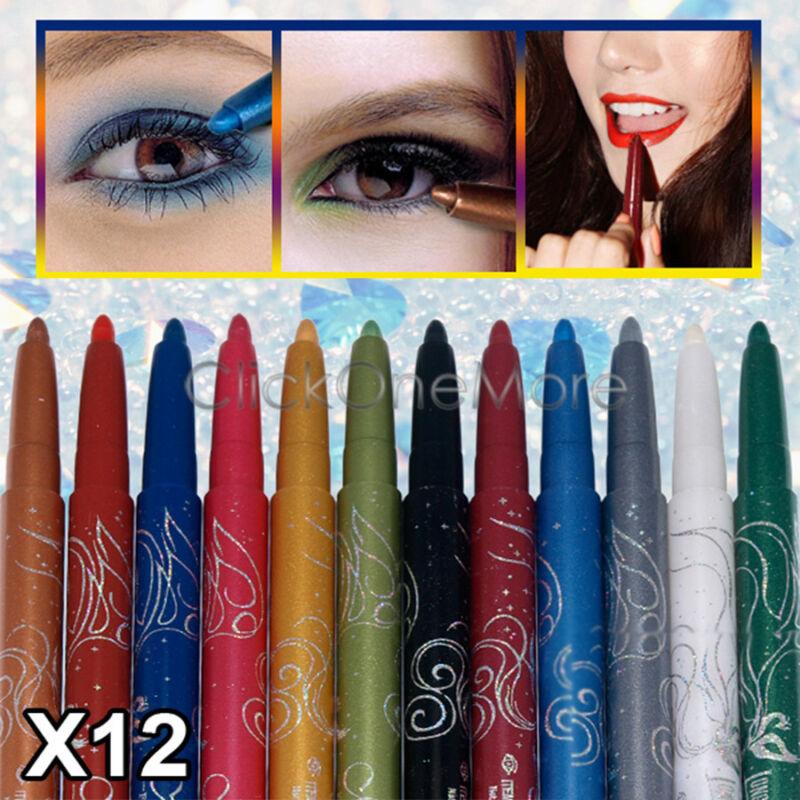 PLE - 12 Color Professional Makeup Set Eyeshadow Eyeliner Pencil Eyeliners
