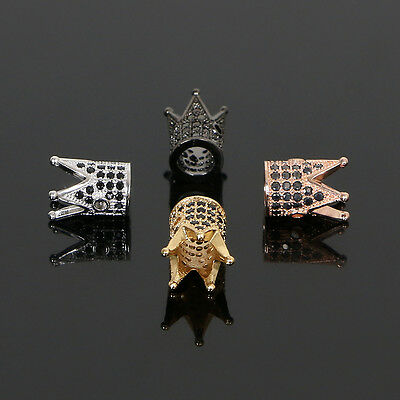 Charm Black and White Zircon Gemstones Pave King Crown Bracelets Connector Beads 5