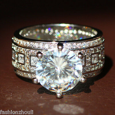 New 925 Silver Filled White Sapphire Birthstone Engagement Wedding Ring 5-11 2