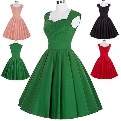 Donna Vintage Retro 40s 50s 60s A Campana Da Sera, Da Festa, Da Ballo Swing 7