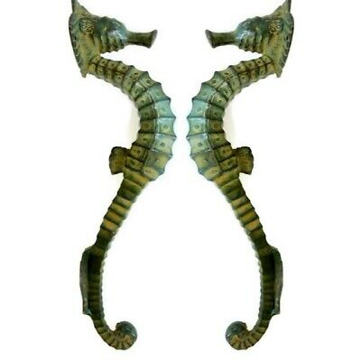 """4 small SEAHORSE solid brass door AGED GREEN old style house PULL handle 10"""" B 5"""