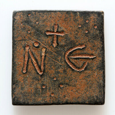 STUNNING BYZANTINE BRONZE SQUARE WEIGHT INSCRIBE N E & CROSS CIRCA 700 AD,18.25g 2