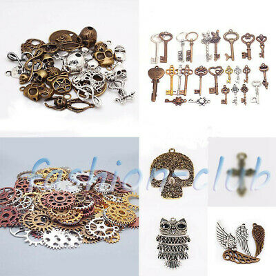 Wholesale Steampunk Skull Cross Gear Pendant Charms For Bracelet Jewelry Finding 3