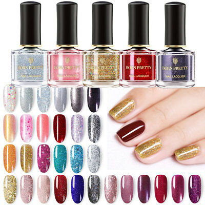 BORN PRETTY Glitter Nail Polish Peel Off Holographic Sparkly Shiny Varnish Pink 11