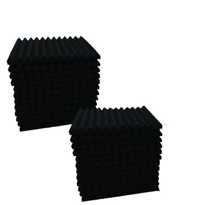 """96 PACK 12""""X 2""""X1"""" Acoustic Foam Panel Wedge Studio Soundproofing Wall Tiles 6"""