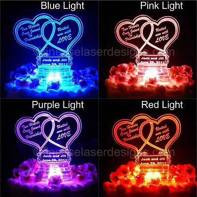 1 Of 5 Led Double Heart Shaped Lighted Wedding Cake Topper Acrylic Top Custom Engraved