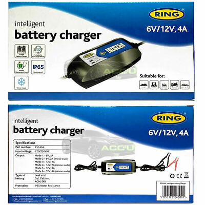 Ring RSC404 6v 12v 4A Digital Intelligent Smart Car Motorbike Battery Charger 6