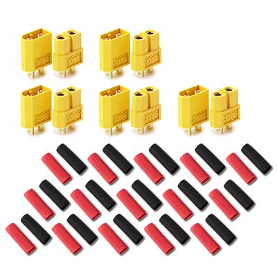10 Stück (5 Paar) XT60 Nylon ESC Lipo Akku Stecker Buchse + Schrumpfschlauch 60A 2