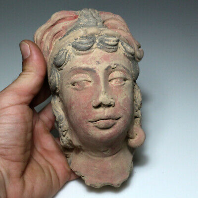 SCARCE-GANDHARA STUCCO FEMALE HEAD FRAGMENT TERRACOTTA 200-300AD-677 grams 2