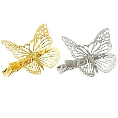 New Gold Silver Black Butterfly Hair Clips Hairpins Wedding Barrette Accessories