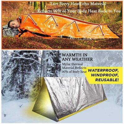 2-Pack Emergency Sleeping Bag Thermal Waterproof Outdoor Survival Camping Bag US 2