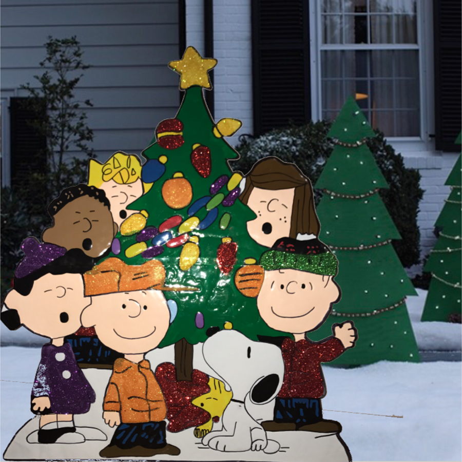 Peanuts Gang Around Tree Yard Art Outdoor Christmas Decor Hammered Metal 2 2 of 2 See More