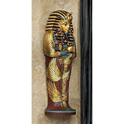 Set of 2: Egyptian Boy King Tut & Jackal God Anubis Sarcophagus Wall Sculpture 3