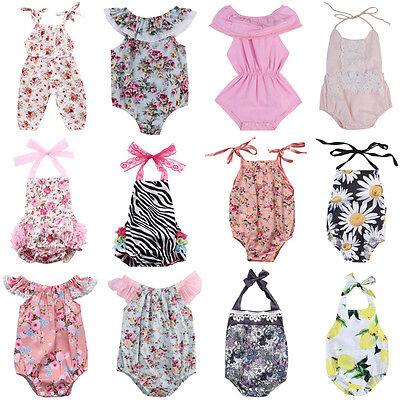 beb63ee870b2 ... US Newborn Infant Baby Girl Floral Romper Bodysuit Jumpsuit Outfits  Sunsuit Lots 2