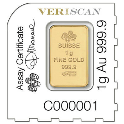 1 gram Gold Bar - PAMP Suisse Lady Fortuna .9999 Fine (In Assay from 2