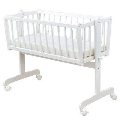 Wiege Schaukelwiege Babywiege Holz Weiß Bettset Prince Prinz komplett