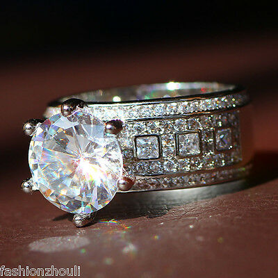 New 925 Silver Filled White Sapphire Birthstone Engagement Wedding Ring 5-11 6