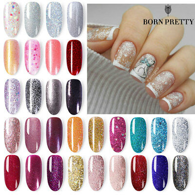 BORN PRETTY Glitter Nail Polish Peel Off Holographic Sparkly Shiny Varnish Pink 10