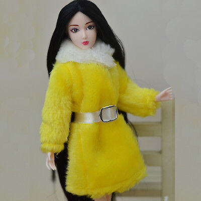 Kid Playhouse Toy Doll Accessories Winter Wear Pink Coat Clothes For 1/6 Doll 9