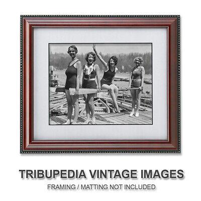1929 Bathing Beauties Vintage Photo - Four Beautiful Swimsuit Flapper Girls 8x10 2