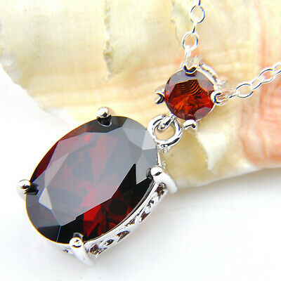 Multi Stones Natural Fire Red Garnet Gemstone Silver Necklace Pendant With Chain 4
